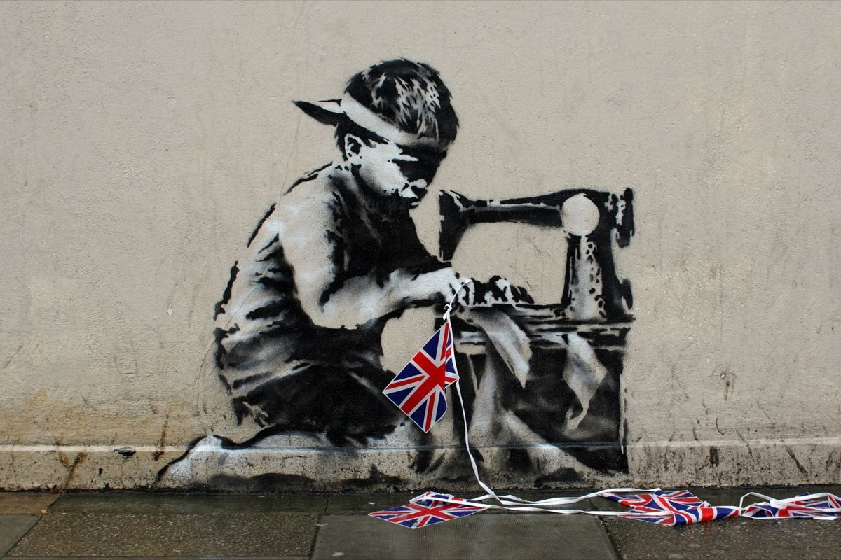 Banksy, Slave Labor, 2012. Photo by Deptford Jon, via Flickr.