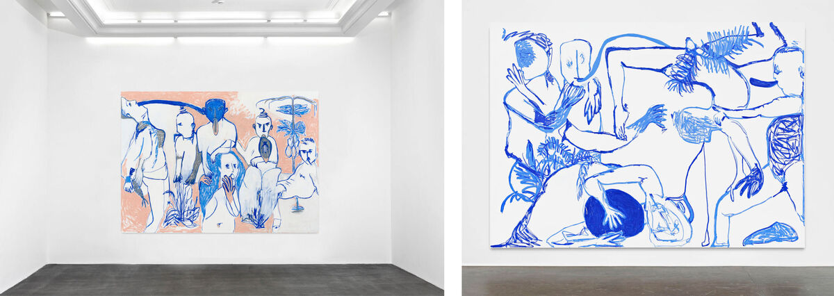 Left: Melike Kara, The smell of possibilities,  (of the buzzing dialogues),  you do not hear what they see.,  Take a breath of the fumes,  that result from your silence., 2015. Right: To be titled, 2015. © Melike Kara, photos courtesy of Peres Projects, Berlin.