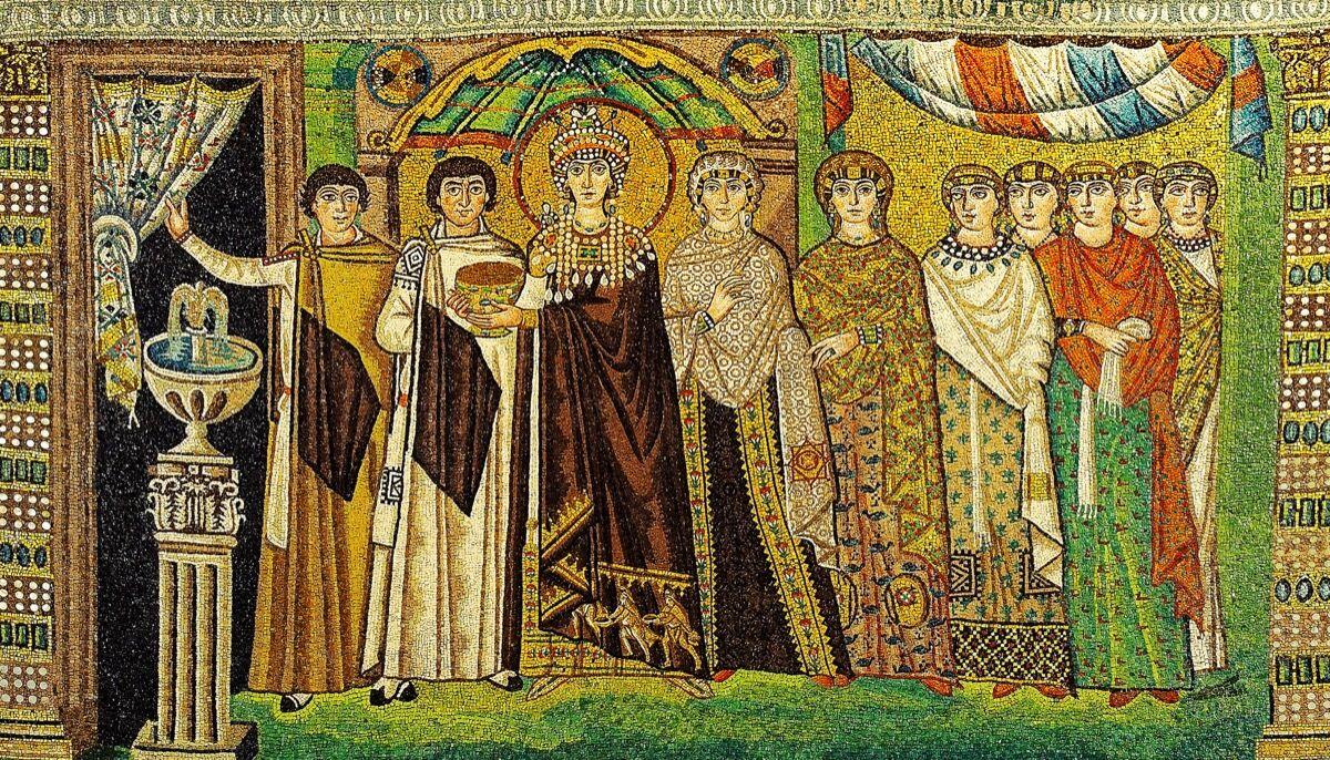 Mosaico de Teodora en la Basílica de San Vitale (construido AD 547).  Imagen de Petar Milošević, vía Wikimedia Commons.