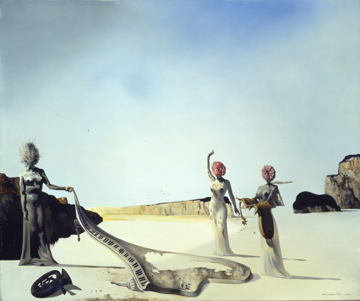 Salvador dalí three young surrealist women holding in their arms the skins of an orchestra