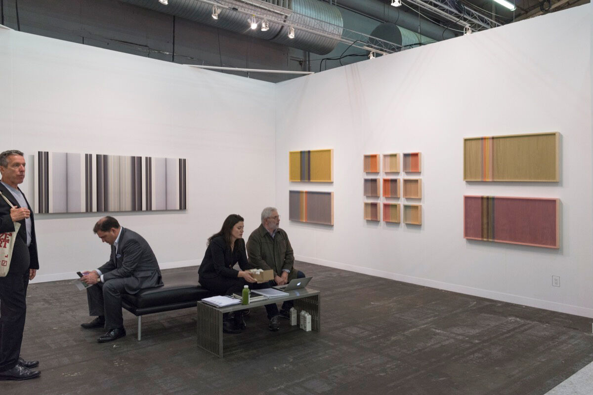 Installation view of PRAZ-DELAVALLADE's booth at The Armory Show, 2017. Photo by Adam Reich for Artsy.