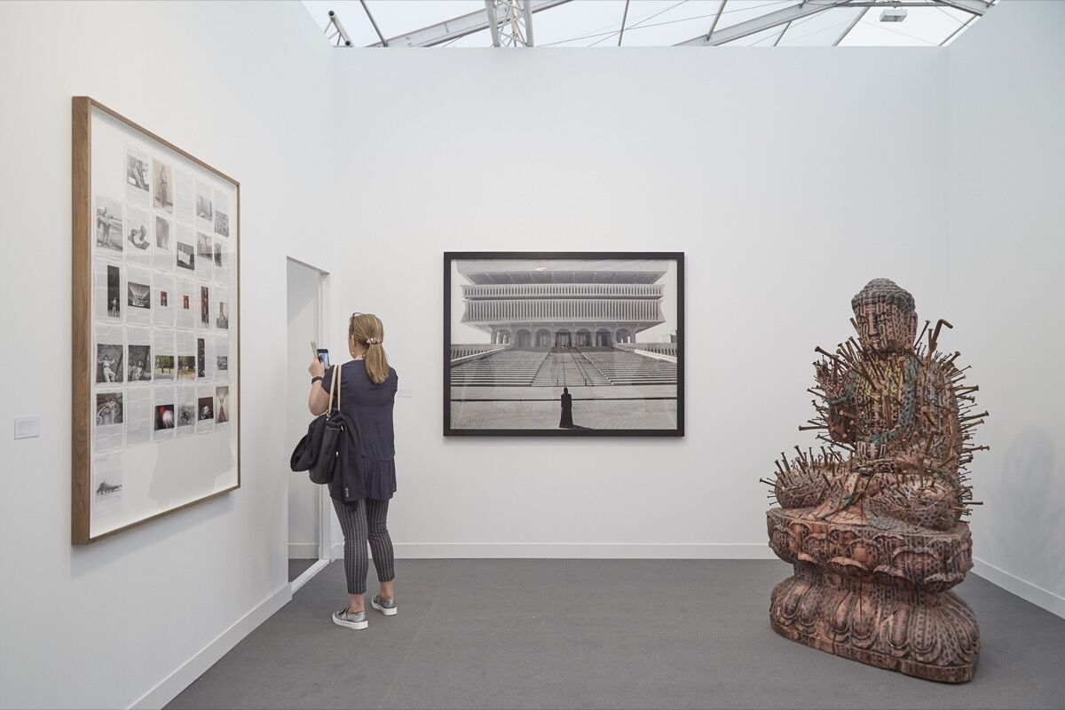 Installation view of Goodman Gallery's booth at Frieze London, 2016. Photo by Benjamin Westoby for Artsy.