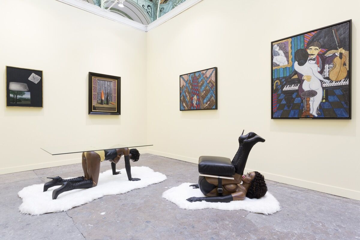 FIAC Booth 0.D34, with works by William N. Copley, René Magritte, and Bjarne Melgaard. Courtesy of VENUS.