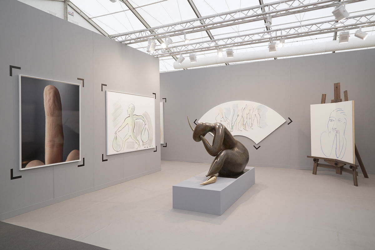 Installation view of kamel mennour's booth atFrieze London, 2015. Photo by Benjamin Westoby for Artsy.