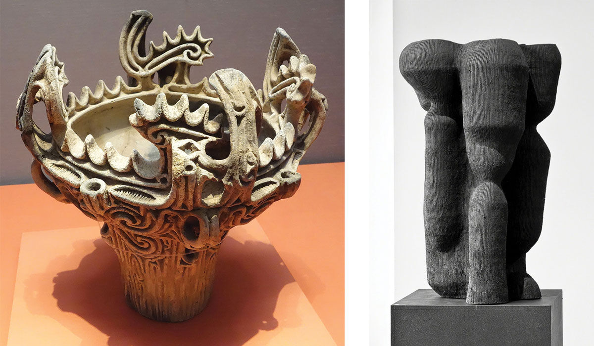 Left: Jomon Vessel (3000-2000 B.C.E.) on view at Tokyo National Museum, Tokyo, Japan. Right: Kristina Riska, Animal (2014). Image courtesy of Hostler Burrows, New York.