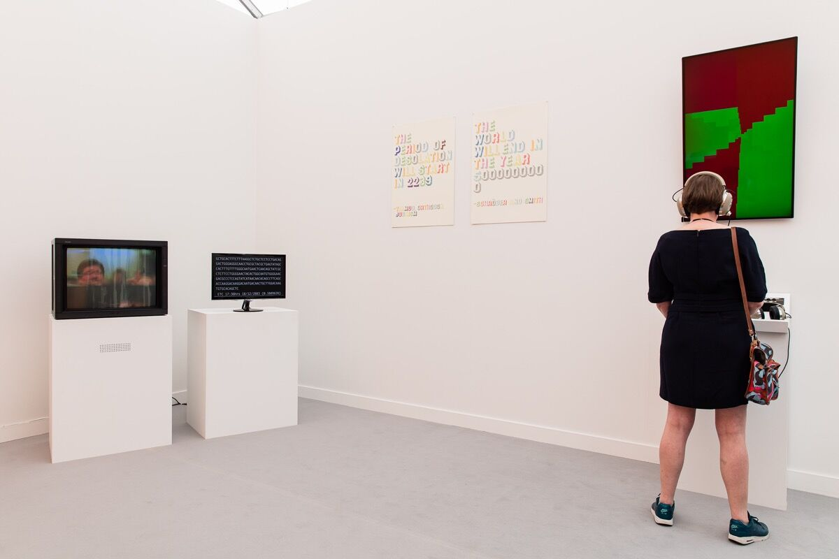 Installation view of Thomson & Craighead's work at Carroll / Fletcher's booth at Frieze New York, 2017. Photo by Mark Blower, courtesy of Frieze.