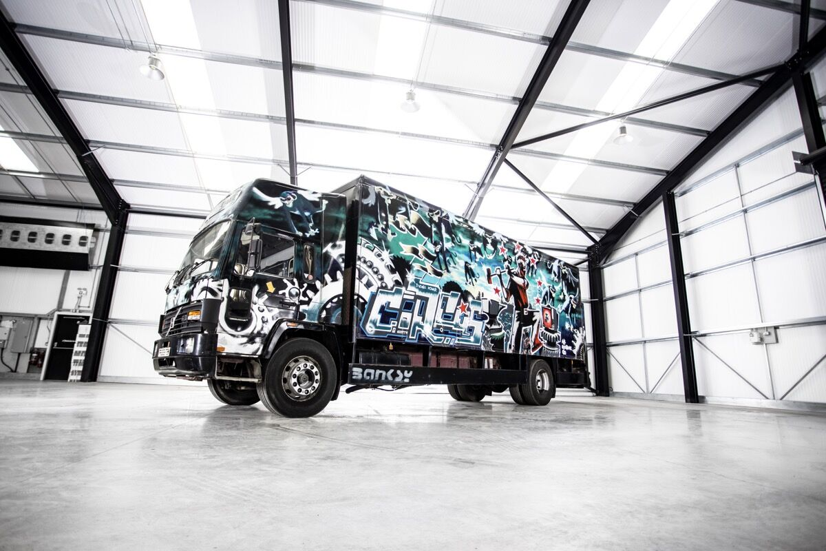 Banksy, Turbo Zone Truck (Laugh Now But One Day We'll Be In Charge), 2000. Courtesy of Bonhams.