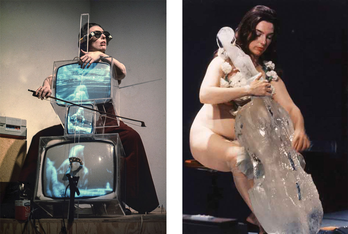 Left:Charlotte Moorman performing on Nam June Paik's TV Cello wearing TV Glasses, Bonino Gallery, New York City, 1971. Photo by Takahiko Iimura. © Takahiko Iimura. Right:Charlotte Moorman performing Jim McWilliams's Ice Music for Sydney, Art Gallery of New South Wales, 1976. Unidentified photographer, reproduced courtesy of Kaldor Public Art Projects. Images courtesy of Grey Art Gallery, New York University.