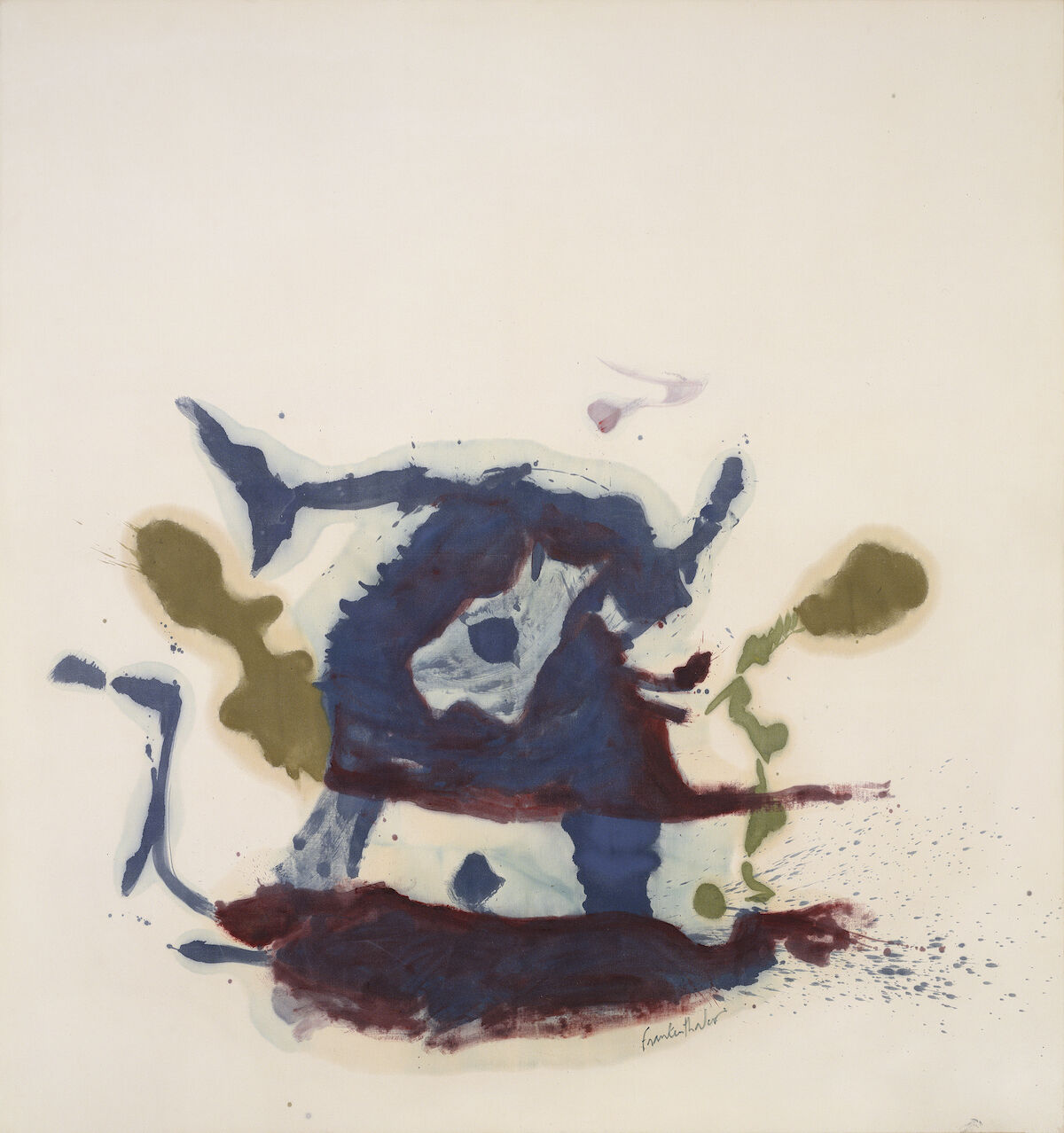 Helen Frankenthaler, Vessel, 1961. Oil on unsized, unprimed canvas. © 2019 Helen Frankenthaler Foundation, Inc. / Artists Rights Society (ARS), New York. Photo: Jordan Tinker, courtesy Helen Frankenthaler Foundation.