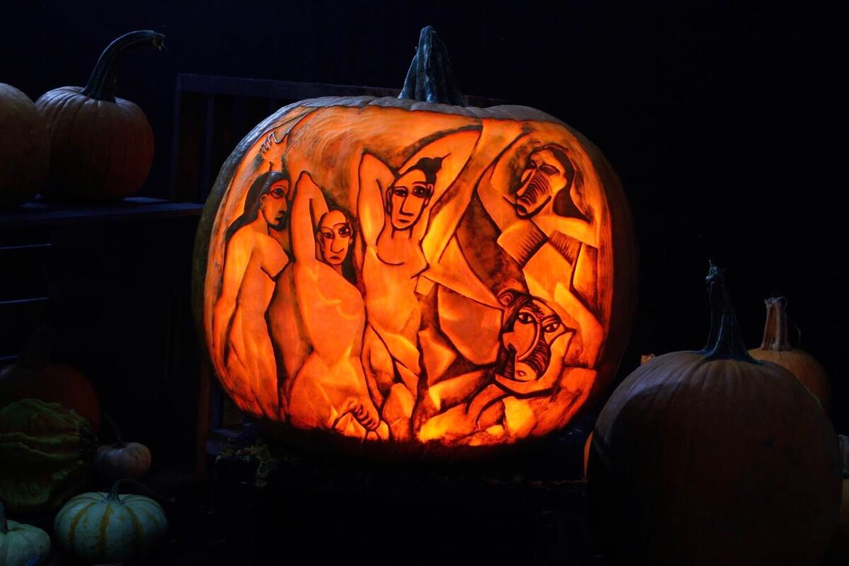 Pumpkin carving inspired by Pablo Picasso, Les Demoiselles d'Avignon, 1907. Courtesy of Maniac Pumpkins.