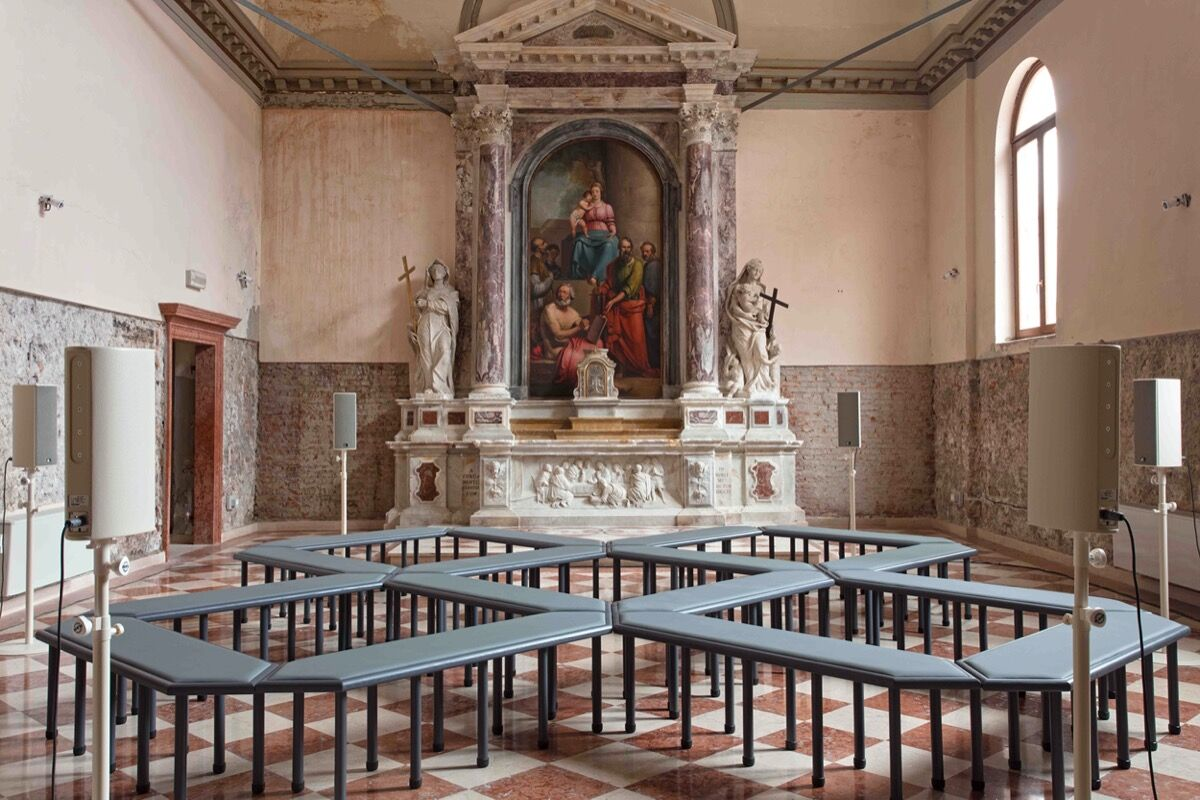James Richards, installation view of Music for the gift in the 57th Venice Biennale, 2017. Courtesy of the artist and Rodeo, London / Piraeus.