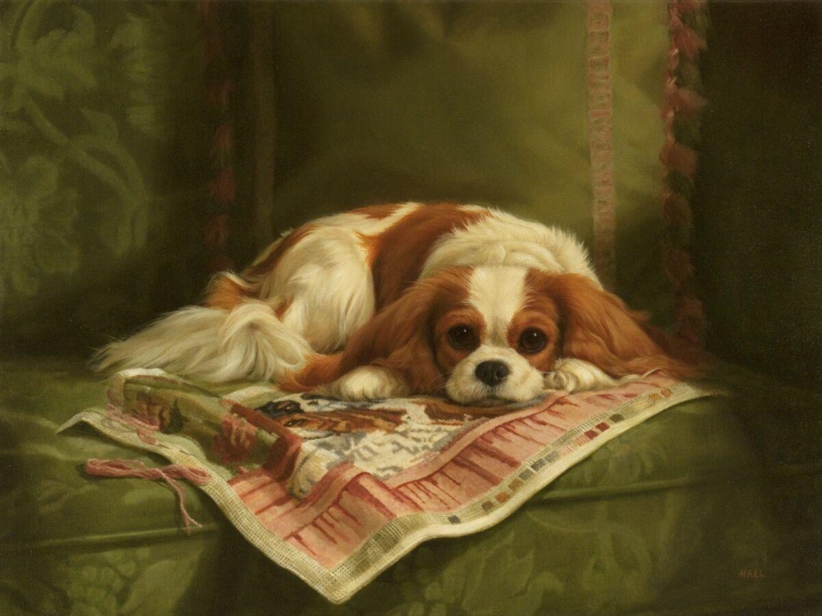 Pamela Dennis Hall, Recumbent Cavalier King Charles Spaniel, 2009. Courtesy of William Secord Gallery.