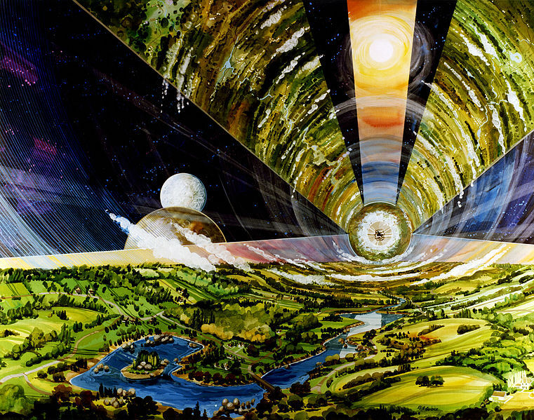 Artist rendering of The Cylinder Colony (interior) by Rick Guidice. Courtesy of NASA Ames Research Center via Wikimedia Commons.