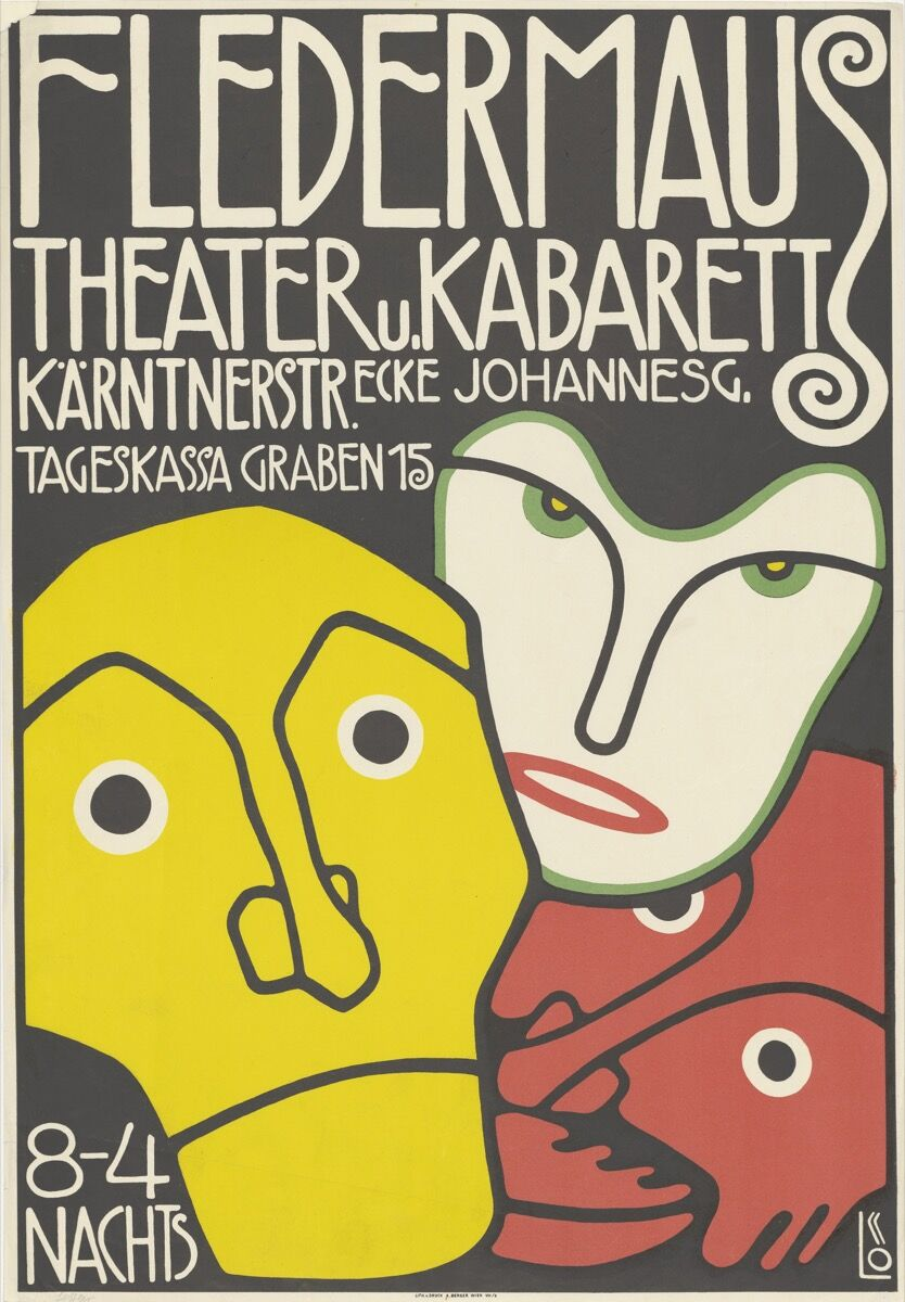 Bertold Löffler, Poster for the Cabaret Fledermaus, 1907. © The Albertina Museum, Vienna. Courtesy of The Albertina Museum, Vienna