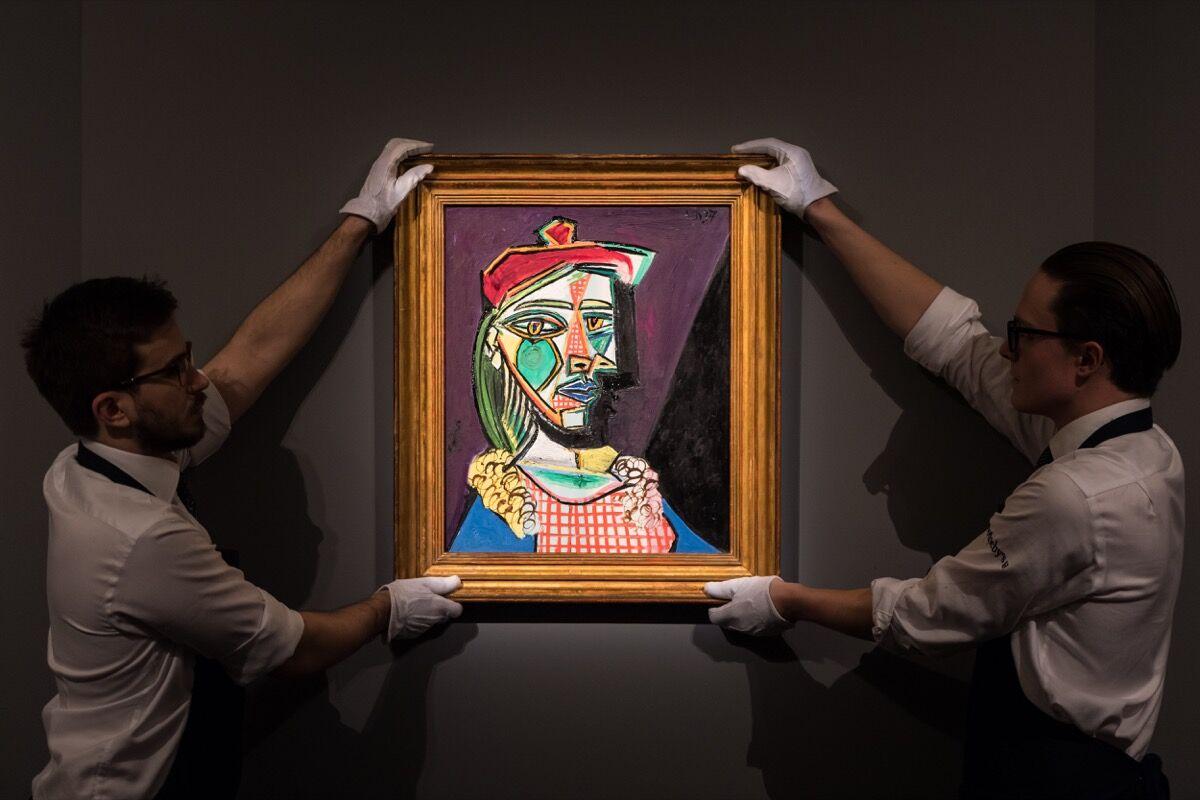 Pablo Picasso, Femme au béret et à la robe quadrillée (Marie-Thérèse Walter), 1937. Courtesy of Sotheby's.