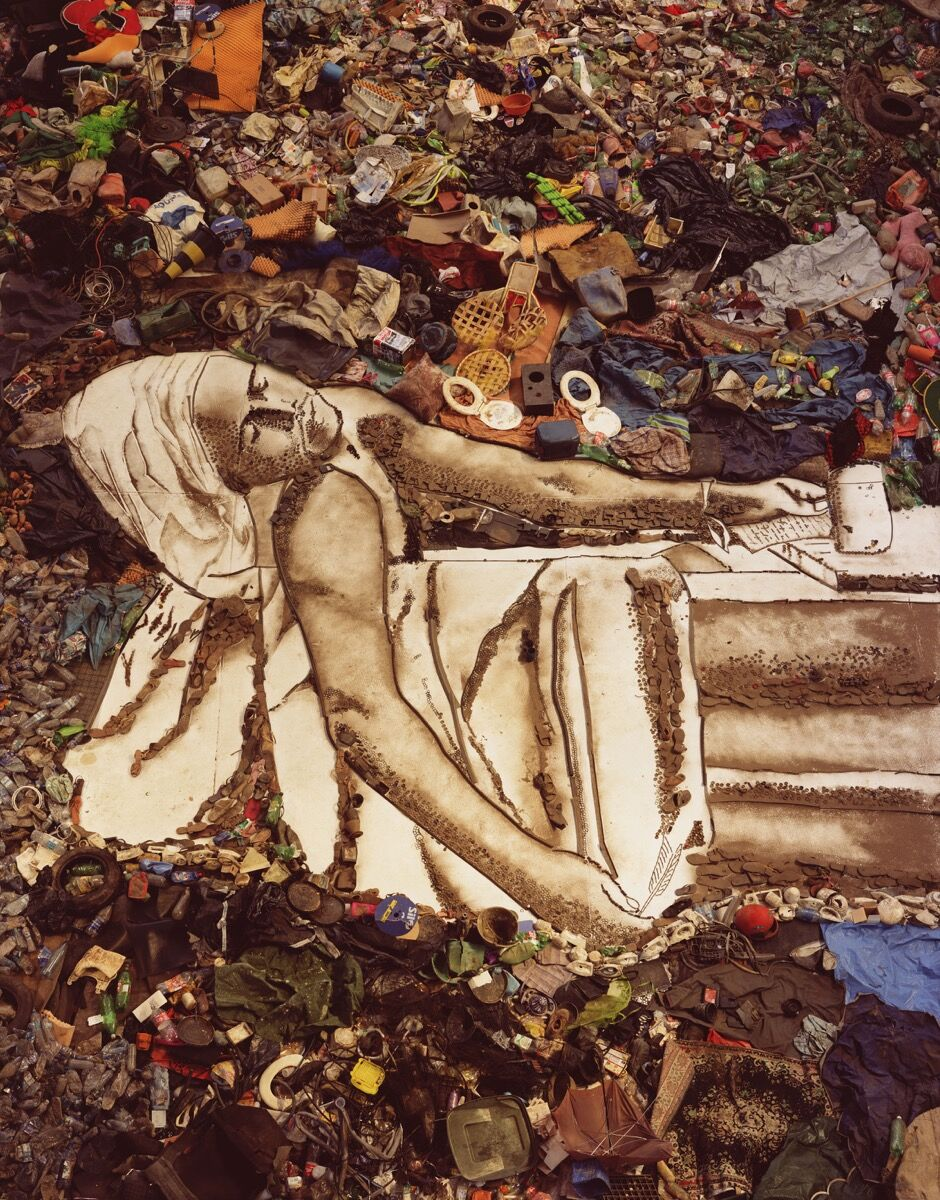 "Vik Muniz, Marat (Sebastião), from ""Pictures of Garbage,"" 2008. Art © Vik Muniz/Licensed by VAGA, New York, NY. Courtesy of Prestel Publishing."