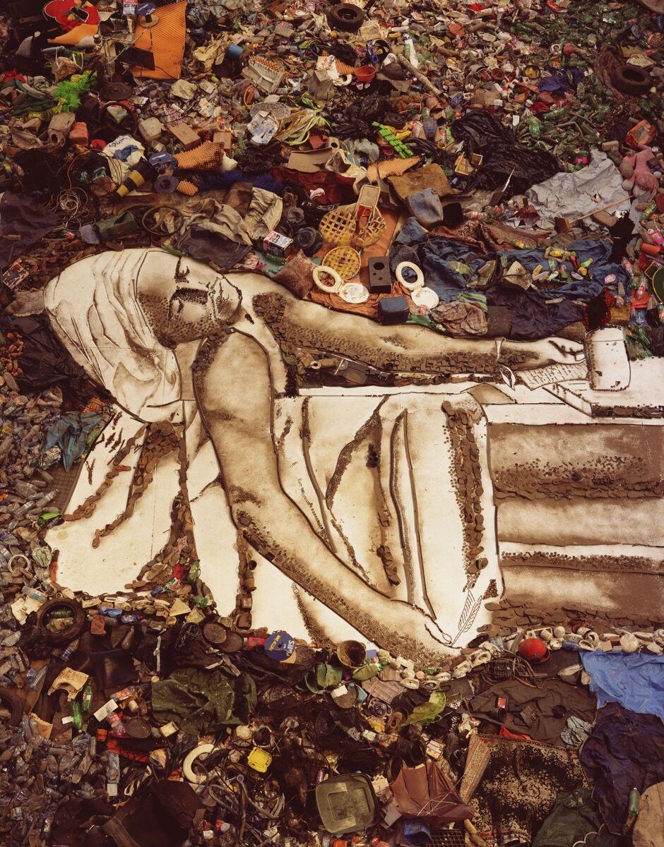 """Vik Muniz, Marat (Sebastião), from """"Pictures of Garbage,"""" 2008. Art © Vik Muniz/Licensed by VAGA, New York, NY. Courtesy of Prestel Publishing."""