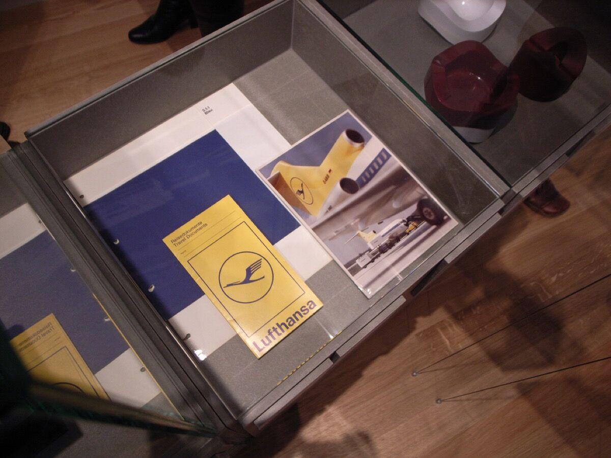 Corporative image design of Lufthansa at HfG Exhibition, Ulmer Museum. Image via Wikimedia Commons.