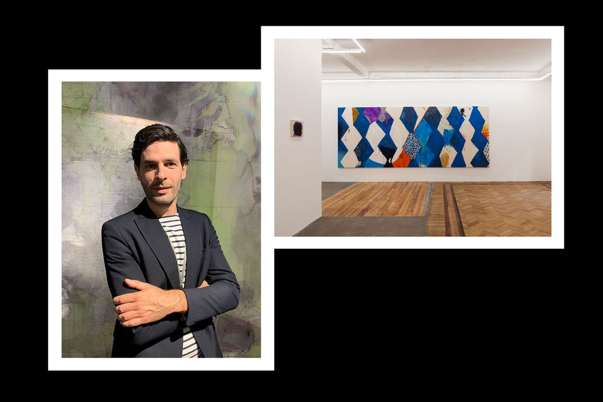 "From left: portrait of Leopol Mones; installation view of Ana Prata, ""Sorte,"" at Galería Isla Flotante, 2019. Both courtesy of Galería Isla Flotante."
