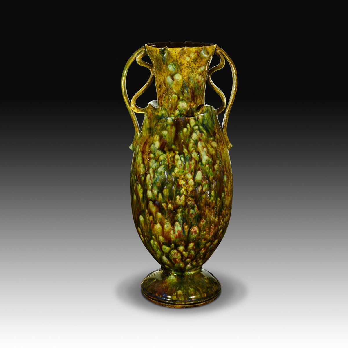 George Ohr, Very tall, mottled two-handled vase, 1895–c. 1900. Courtesy of the Collection of Marty and Estelle Shack. Photo by Phillip Ennis.