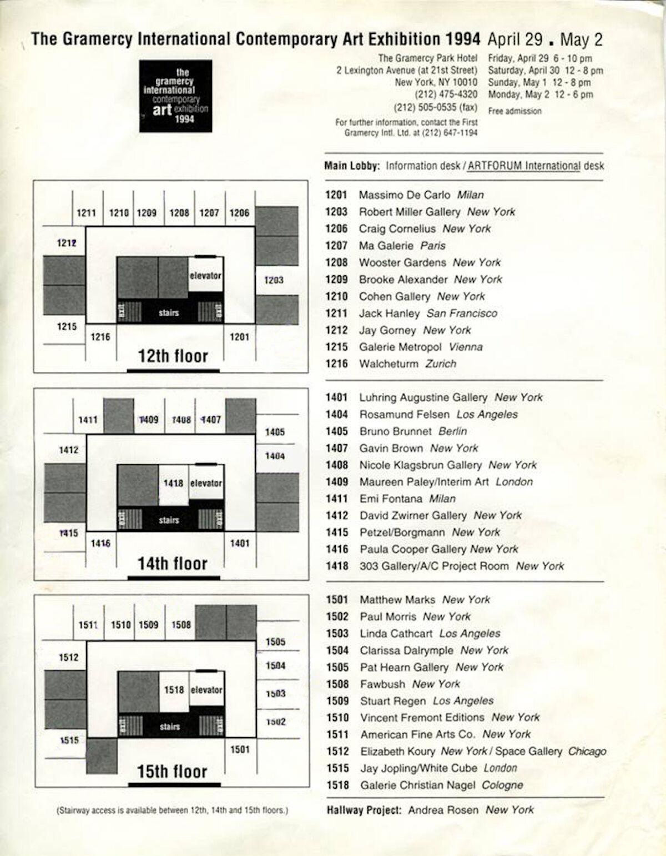 The floor plan for the 1994 Gramercy International Contemporary Art Fair. Photo by Sylvie Ball, courtesy The Armory Show.