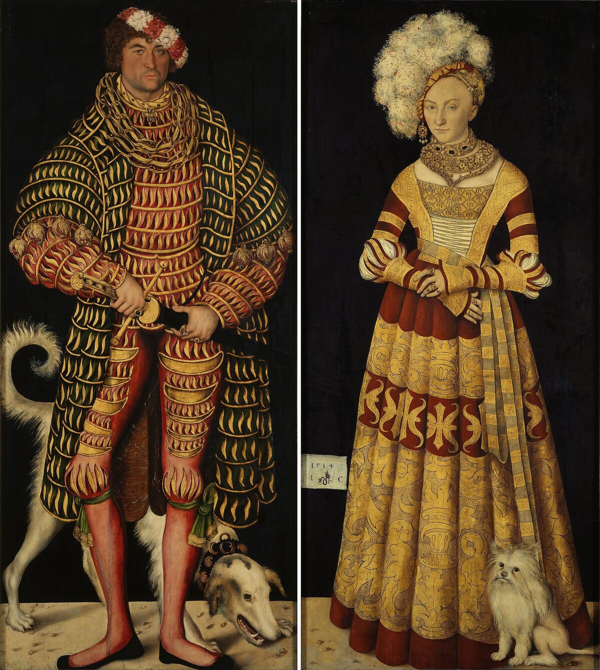 Lucas Cranach the Elder, Portraits of Henry the Pious, Duke of Saxony and his wife Katharina von Mecklenburg, 1514. Image via Wikimedia Commons.