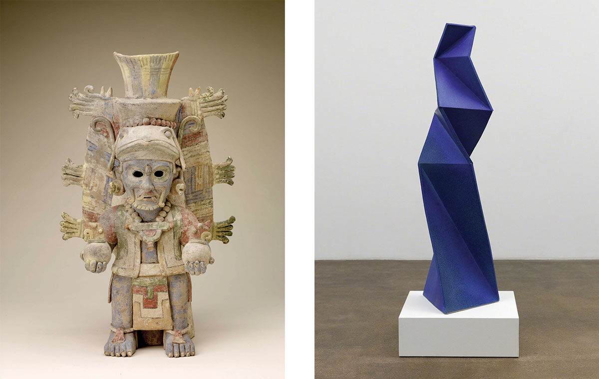 Left: Effigy urn in the form of the Sun God, 12th–14th century, Mexico, Maya. Image courtesy of Fine Arts Museums of San Francisco, Gift of Lewis K. and Elizabeth M. Land. Right: John Mason, Twin Blue Figure 2 (2015). Image courtesy of David Kordansky Gallery, Los Angeles.