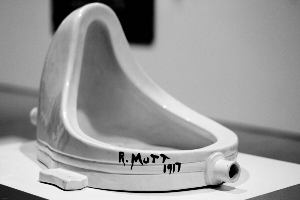 Installation view of Marcel Duchamp's Fountain, 1917. Photo by James Broad, via Flickr.