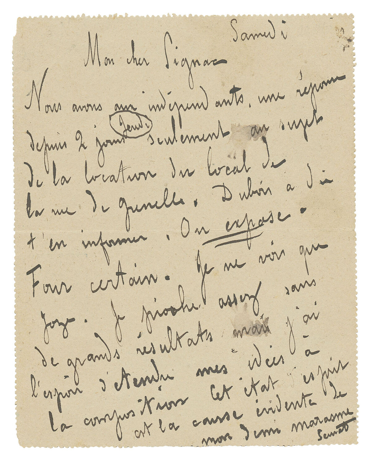 """Seurat and Signac plan the 1889 exhibition of the Indépendants: will it be """"a flop""""? Georges Seurat, autograph letter signed, to Paul Signac, on a lettercard, postmarked Paris, 20 April 1889. © TASCHEN."""