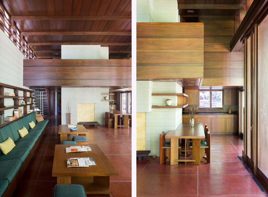 Left: Living space to foyer of the Bachman-Wilson House designed by Frank Lloyd Wright in 1954. Courtesy of Crystal Bridges Museum of American Art, Bentonville, Arkansas; photos by Nancy Nolan Photography. Right: Dining area of the Bachman-Wilson House designed by Frank Lloyd Wright in 1954. Courtesy of Crystal Bridges Museum of American Art, Bentonville, Arkansas; photos by Nancy Nolan Photography.