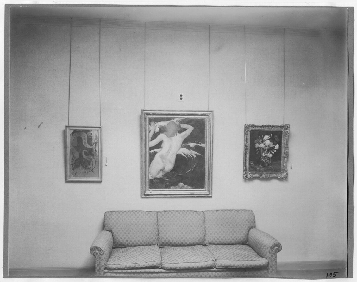 """Installation view of the exhibition """"Cézanne, Gauguin, Seurat, Van Gogh,"""" on view November 7, 1929 through December 7, 1929 at The Museum of Modern Art, New York. Courtesy of The Museum of Modern Art Archives, New York. Photo by Peter Juley."""
