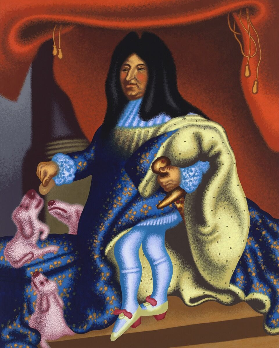 "Peter Saul, ""Louis XIV Feeds His Pets,"" 2015. © Peter Saul. Courtesy of Mary Boone Gallery, New York."