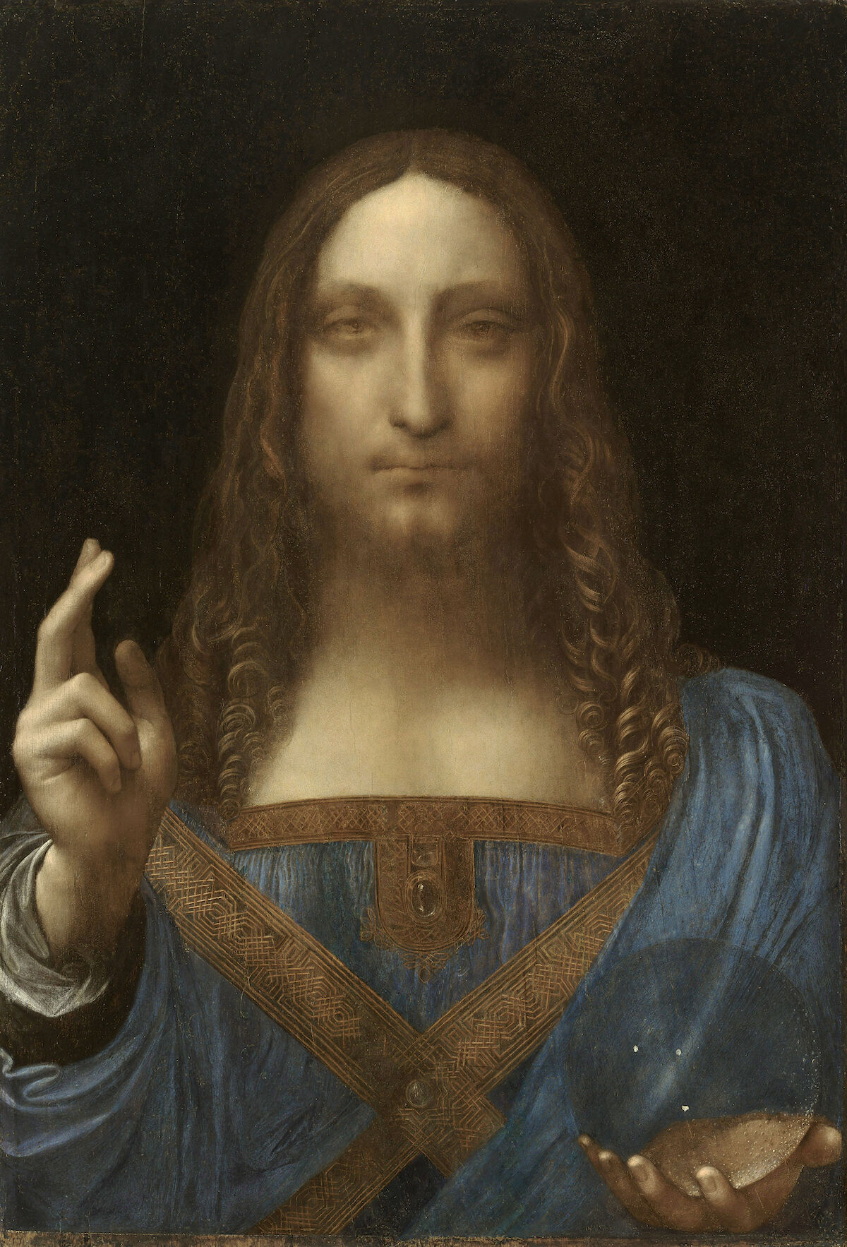Painting attributed to Leonardo da Vinci, Salvator Mundi, circa 1500. Courtesy Abu Dhabi Tourism & Culture Authority, via Wikimedia Commons.