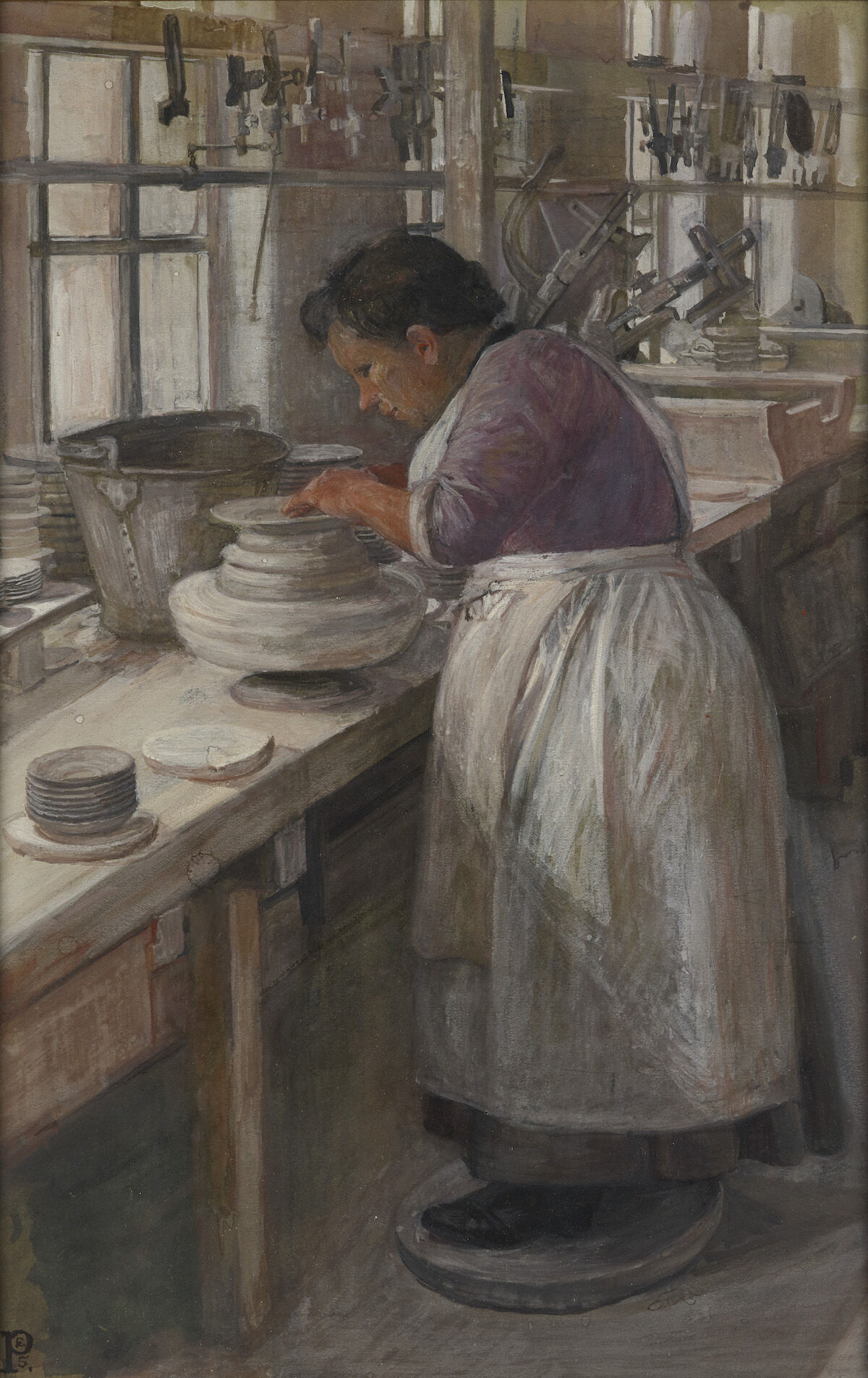 Sylvia Pankhurst, On a Pot Bank: Finishing Off the Edges of the Unbaked Plates on a Whirler, 1907. Courtesy Tate Britain.