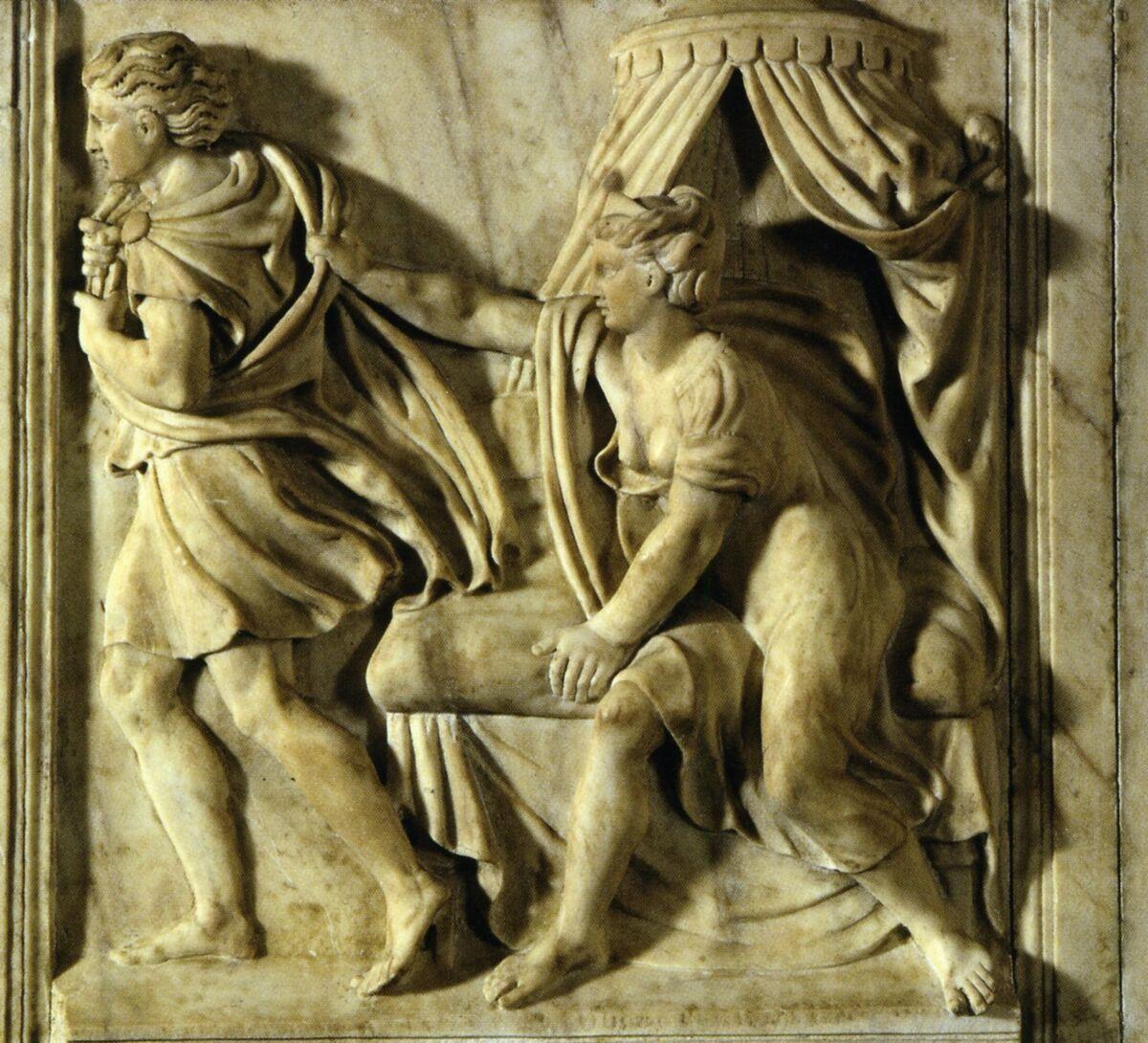 Properzia de' Rossi, Joseph and Potiphar's Wife at the Basilica di San Petronio Museum, Bologna, 1525-26. Courtesy of Irene Graziani at the University of Bologna.