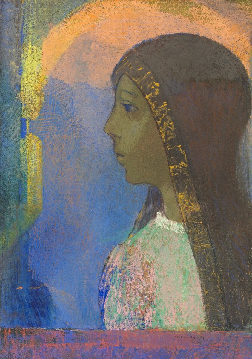 Odilon Redon, Profile against a blue ground, 1899. Courtesy of Wildenstein and Co. Inc., and TEFAF.