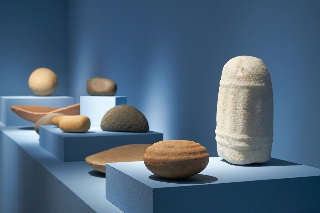 "Installation view of ""Shaped Stone of the Sahara"" courtesy of Pace Primitive"