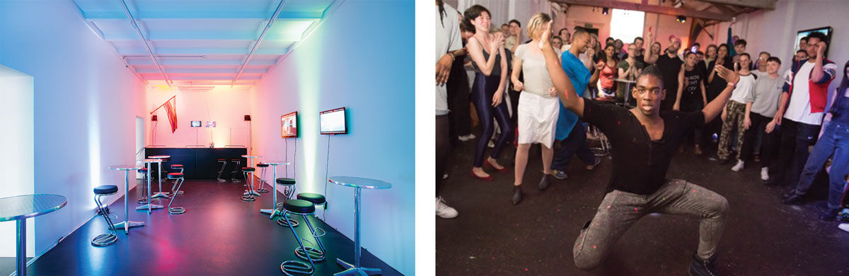 Left: Cruising Extinction, 2015. Oslo 10, Basel. Right:Hannah Quinlan and Rosie Hastings, How To Survive A Flood @Gaybar, 2016, DRAF Studio. Courtesy the artists and Arcadia Missa, London. Photo: Max Colson.