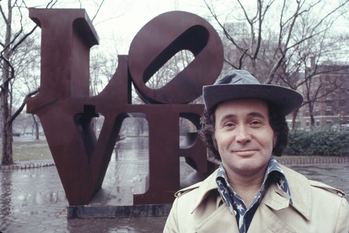 Robert Indiana with his 'LOVE' sculpture in Central Park, New York City in 1971. Photo by Jack Mitchell/Getty Images.