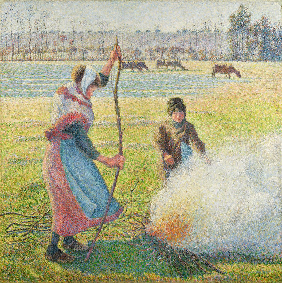 Camille Pissarro, Gelée blanche, jeune paysanne faisant du feu, 1888. Est. £8 million–12 million ($10.4 million–15.6 million). Courtesy Sotheby's.