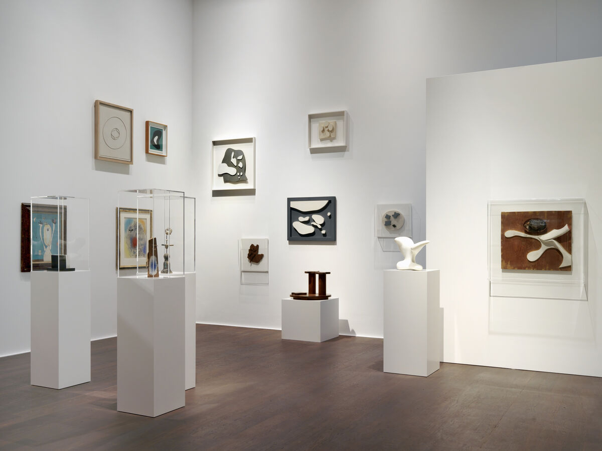"""Installation view, """"Schwitters Miró Arp,"""" Hauser & Wirth Zürich, 2016 © 2016, ProLitteris, Zurich. Courtesy Hauser & Wirth"""