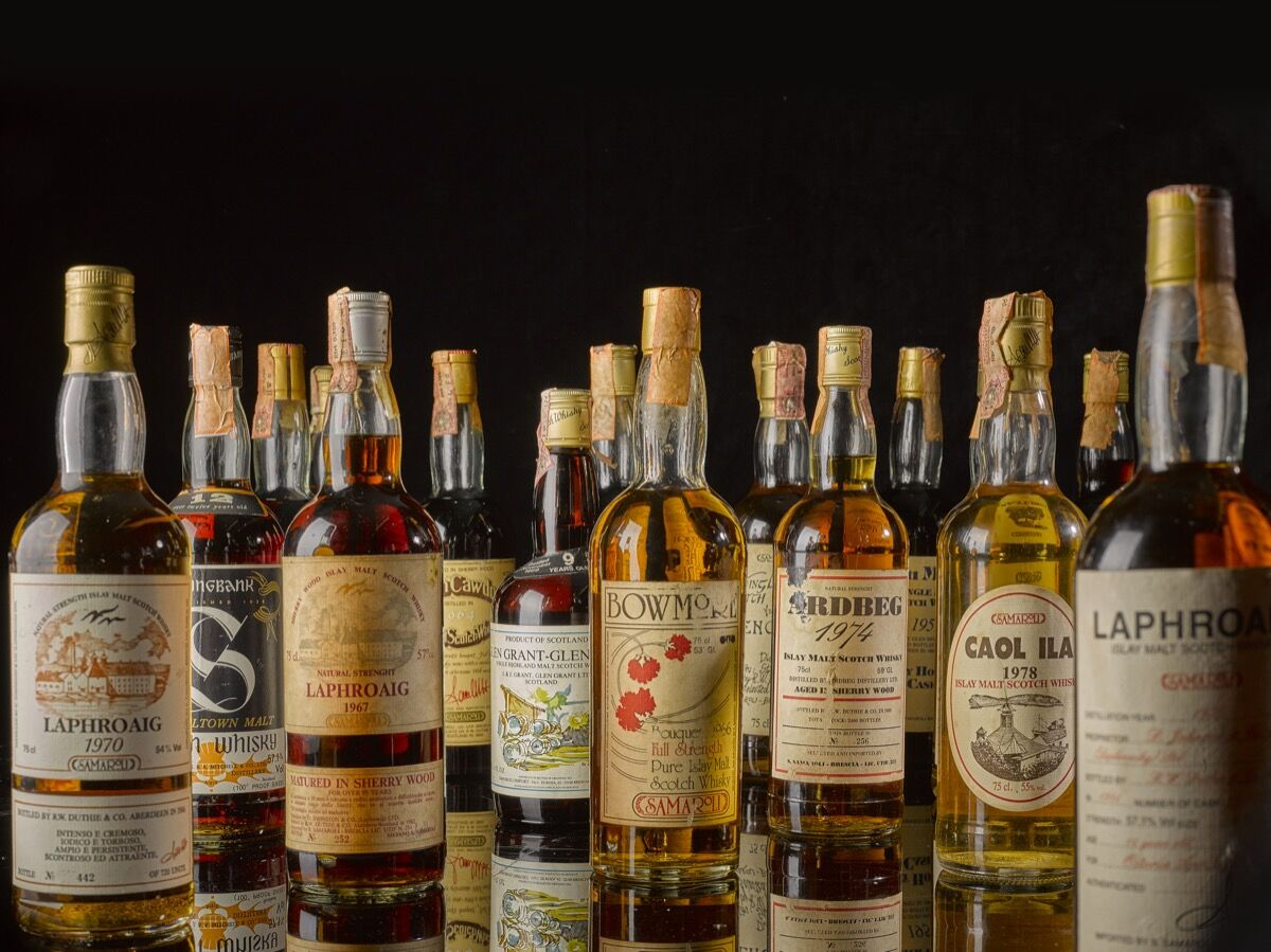 """20 lots from independent bottler Silvano Samarol to be sold at Sothebys, """"The Ultimate Whiskey Collection,"""" on October 24, 2019. Courtesy of Sotheby"""