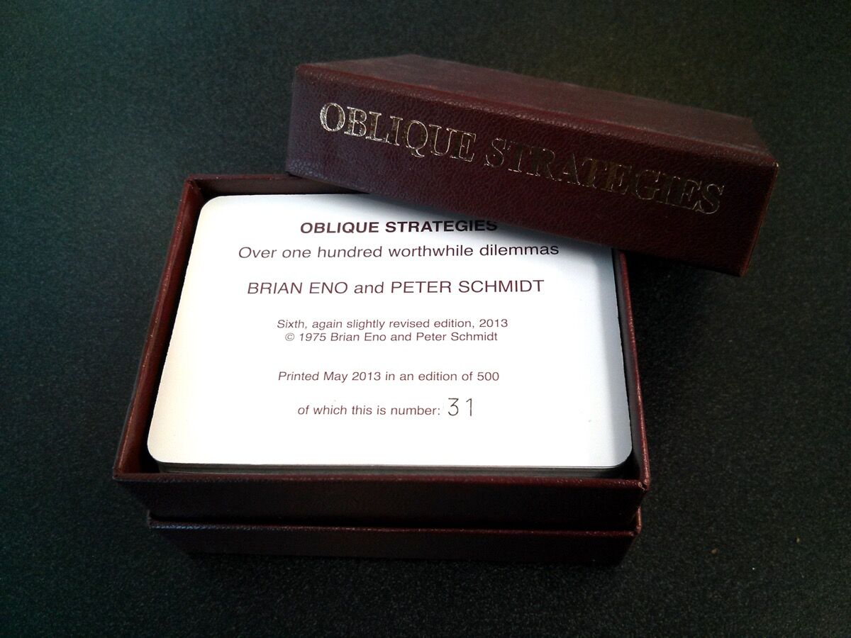 Oblique Strategies deck, 2013. Photo by Cory Doctorow, via Flickr.