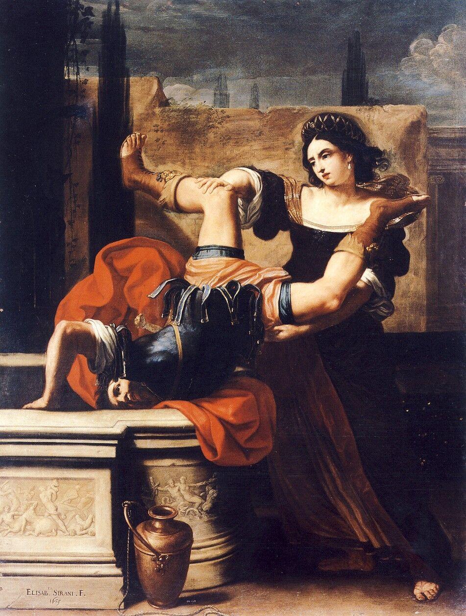 Elisabetta Sirani, Timoclea Killing Her Rapist, 1659. Photo via Wikimedia Commons.