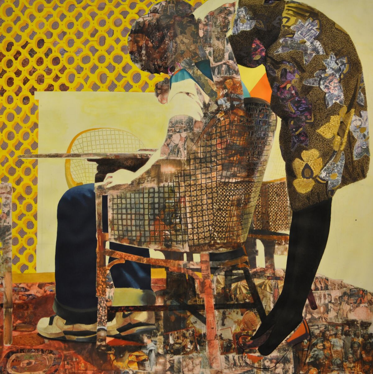 Njideka Akunyili Crosby, Nyado: The Thing Around Her Neck, 2011. © Njideka Akunyili Crosby. Courtesy of the artists, Victoria Miro, London/Venice, and David Zwirner.
