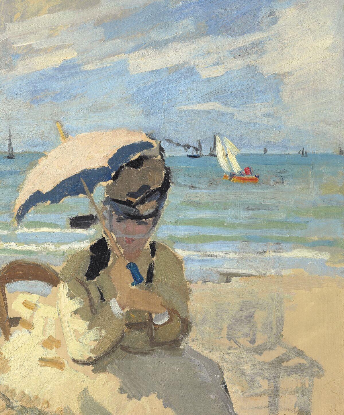 Claude Monet, Camille assise sur la plage à Trouville, 1870-71. Courtesy of Christie's.