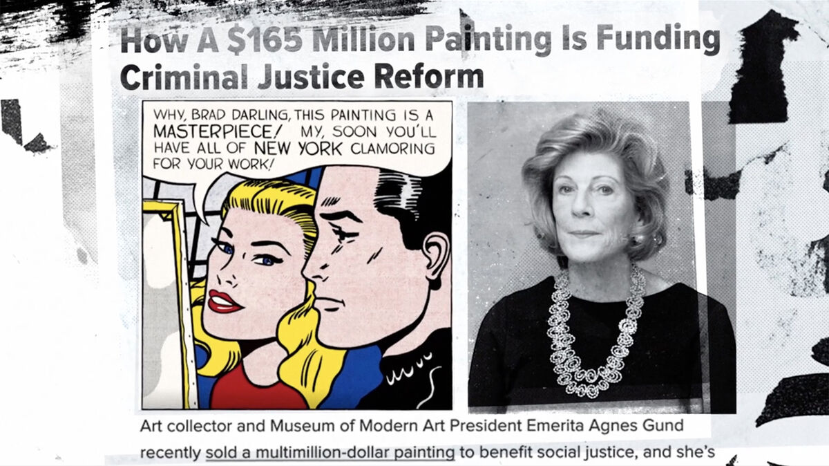 Agnes Gund featured in June 14, 2017, news story alongside image of Roy Lichtenstein's Masterpiece, as seen in Aggie, directed by Catherine Gund. Courtesy of Aubin Pictures.