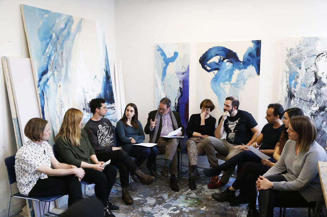 Joachim Pissarro, Bershad Professor of Art History and Director of the Hunter College Art Galleries, in conversation with students in the Spring 2018 Thesis exhibition. Photo by Carlos Rigau.