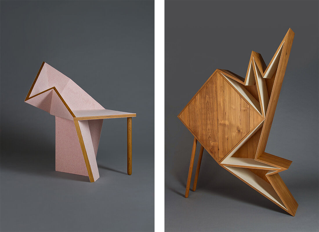 Chair and cabinet byAljoud Lootah courtesy the artist.