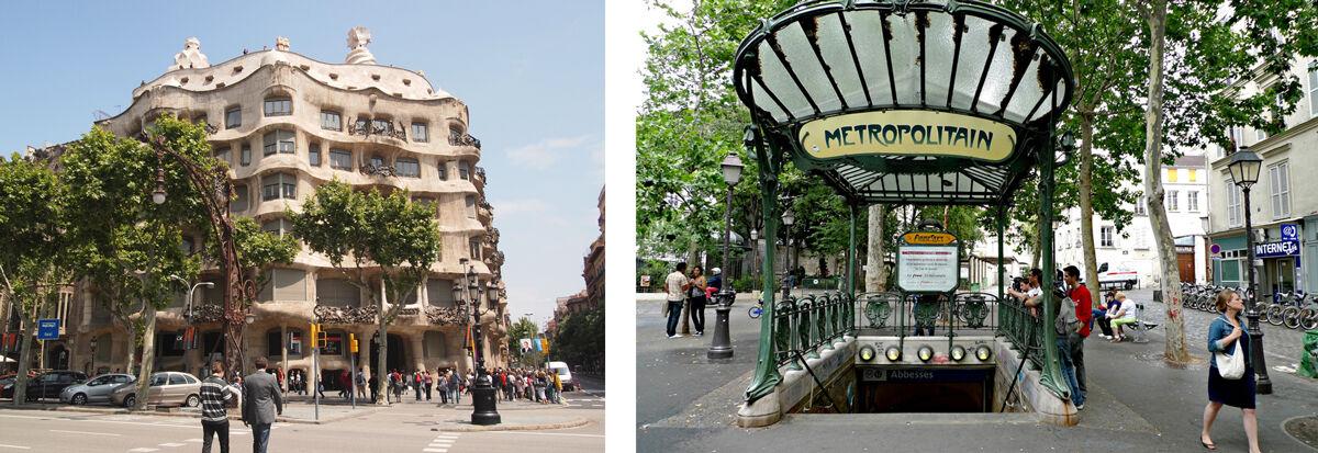 Left: Antoni Gaudí, Casa Mila. Photo by deming131, via Flickr; Right: Hector Guimard, Style Metro. Photo by zoetnet, via Flickr.